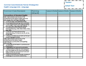 Kindergarten Common Core ELA Checklists and Student Rosters