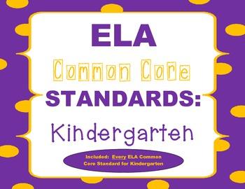 Common Core ELA Posters (Kindergarten)
