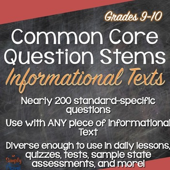 Common Core ELA Question Stems for Informational Texts - Grades 9-10