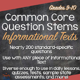 Reading: Informational Texts Question Stems and Annotated