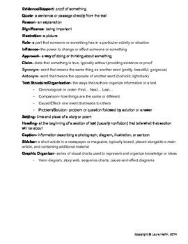 Common Core ELA Reading Terms- Study Sheet for Standardized Testing- L.5, L.6