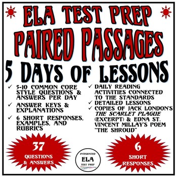 Common Core ELA Reading Test Prep 5 Days of Lessons Paired Passages Death/Plague