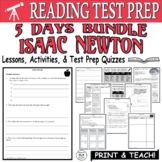 Common Core ELA Reading Test Prep Lesson BUNDLE: Isaac Newton