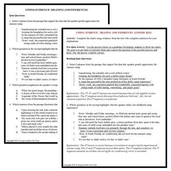 Common Core ELA Reading Test Prep Lesson BUNDLE: Roller Skating Narrative