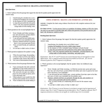 Reading Comprehension Passage Questions BUNDLE Personal Narrative Example