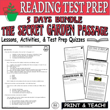Common Core ELA Reading Test Prep Lesson BUNDLE: The Secret Garden (Fiction)