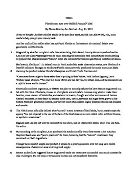 Common Core ELA Regents Parallel Task for Part 2 Writing from Sources
