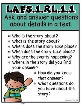 1st Grade Florida Standards ELA Reading Literature and Informational Text
