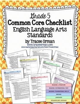 Common Core ELA Standards Checklists Grade 5