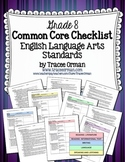 Common Core ELA Standards Checklists Grade 8 Editable