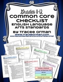 ELA Standards Checklists Grades 11-12 Editable