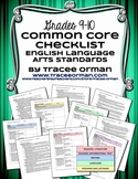 Common Core ELA Standards Checklists Grades 9-10 Editable