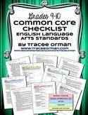 ELA Standards Checklists Grades 9-10 Editable