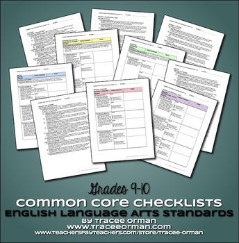 Common Core ELA Standards Checklists High School Grades 9-12