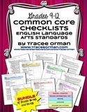 Common Core ELA Standards Checklists Bundle High School Grades 9-12