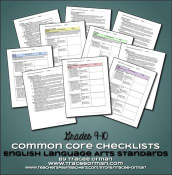 Common Core ELA Standards Checklists Bundle High School Grades 9-12