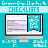 Common Core Standards Checklist - Third Grade ELA