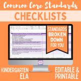 Common Core Checklist - Kindergarten ELA