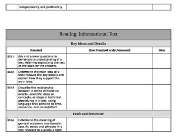 Common Core ELA Standards Grade 3 - Easy-to-use Planning Tool