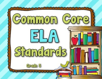 Common Core ELA Standards - Grade 5 (Brown, Lime Green, Turquoise)