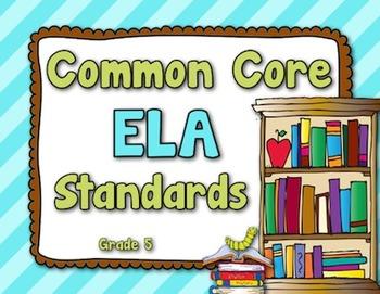 Common Core ELA Standards - Grade 5 (Brown, Lime Green, Tu