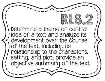 Common Core ELA Standards Grade 8 Poster Set - Black & White INK SAVER