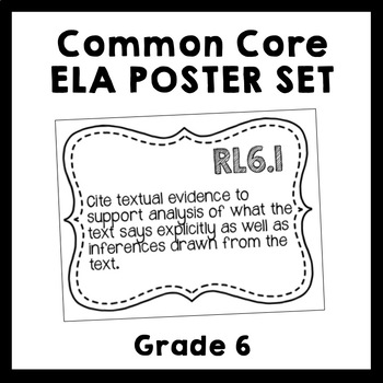 Common Core ELA Standards Poster Set - 6th Grade {Black & White Ink Saver}