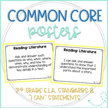 Common Core ELA Standards and I Can Statements- Full Page Posters