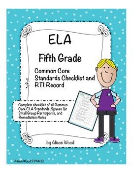 Common Core ELA Standards and RTI Checklist Fifth Grade