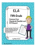 Common Core ELA Standards and RTI Checklist Fifth Grade