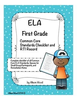 Common Core ELA Standards and RTI Checklist First Grade