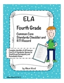 Common Core ELA Standards and RTI Checklist Fourth Grade