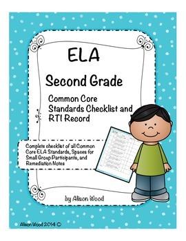 Common Core ELA Standards and RTI Checklist Second Grade