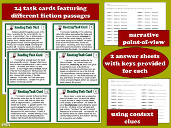 ELA Task Cards + Printables set – Narrative POV & Context Clues