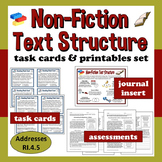 ELA Task Cards & Printables Set – Nonfiction Text Structure