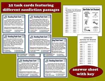 ELA Task Cards & Printables Set –Nonfiction Text Structure