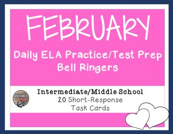 Middle School Bell Ringer  - ELA Task Cards for February