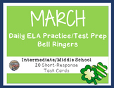 Common Core ELA Task Cards for March - Middle School Level