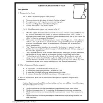 Common Core ELA Test Prep Author's Purpose: Japanese Tale (Informational Text)