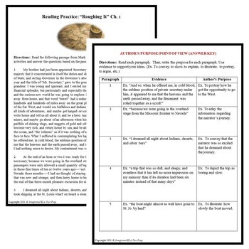 Common Core ELA Test Prep Author's Purpose Lesson: Roughing It by Mark Twain
