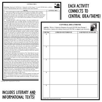Common Core ELA Test Prep Central Idea BUNDLE: 16 Lessons/Quizzes/Activities