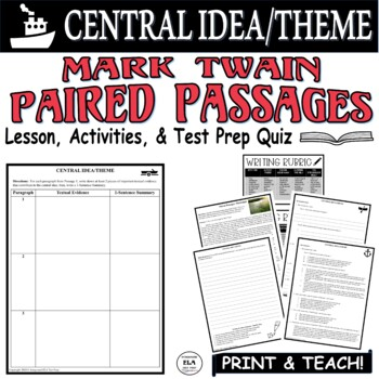 Common Core ELA Test Prep Central Idea Lesson: Paired Passages (Mississippi)