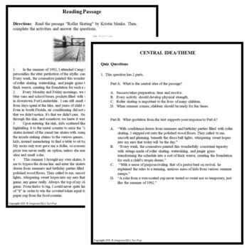 Common Core ELA Test Prep Central Idea Lesson: Roller Skating (Narrative)