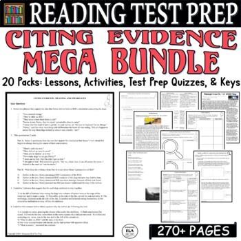 Common Core ELA Test Prep Citing Evidence BUNDLE: 16 Lessons/Quizzes/Activities