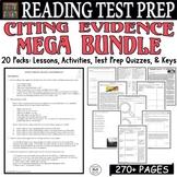 ELA Test Prep Citing Evidence MEGA BUNDLE: 19 Lessons/Quizzes/Activities