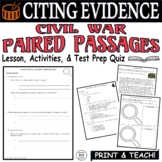 Common Core ELA Test Prep Citing Evidence Lesson: Paired Passages (Civil War)