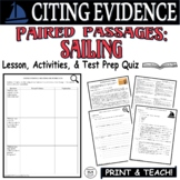 Common Core ELA Test Prep Citing Evidence Lesson: Paired Passages (Sailing)