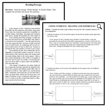 Common Core ELA Test Prep Citing Evidence Lesson: Roller Skating (Narrative)
