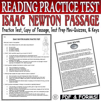 Common Core ELA Test Prep PRACTICE TEST:  Isaac Newton