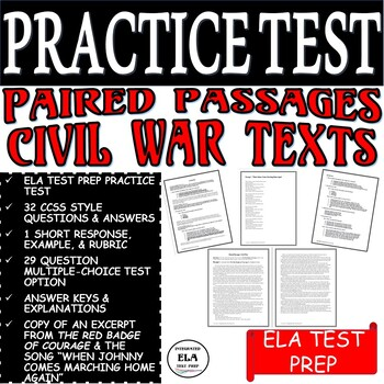 Common Core ELA Test Prep PRACTICE TEST:  Paired Passages Civil War Text/Song